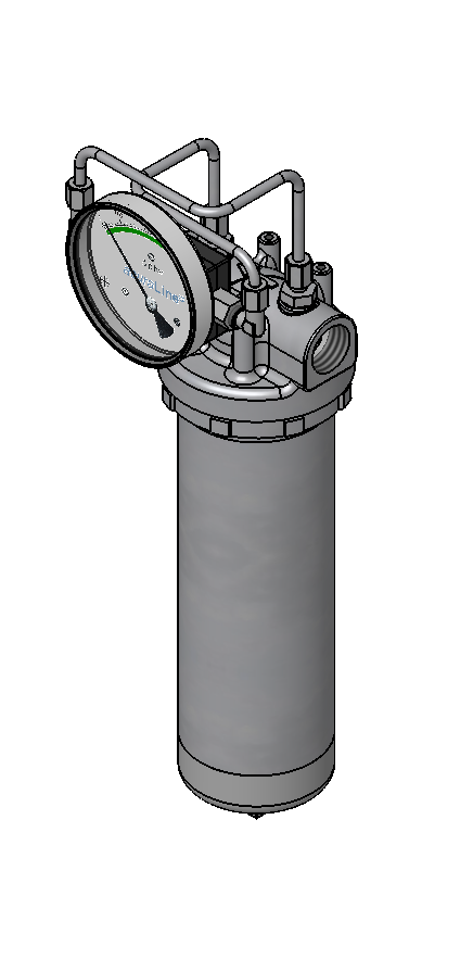 1FU single cartridge filter housing for liquids, constructed from stainless steel.