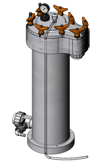 Topline bag filter housing that is sealed with a profile gasket.