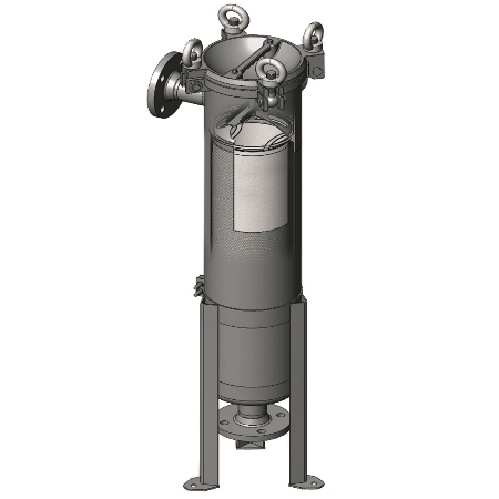 Size 1 bag filter housing, for industrial water, paints, chemicals, oils, inks and coatings.