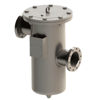 High pressure strainer featuring a basket strainer, made with stainless steel.