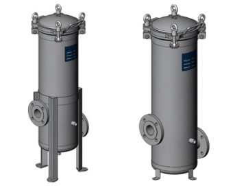 Industrial-grade multi cartridge filter housing with bolted closure.