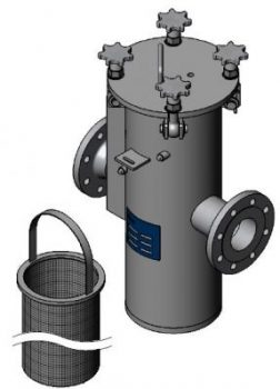Stainless steel inline basket strainers