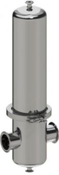 Gas filter housing in stainless steel.