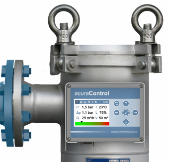Filter monitoring system with acuraControl, measuring flow rate, volume and particle count with an extension.